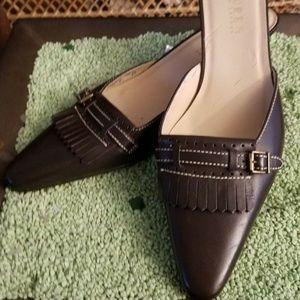 Lauren Ralph Lauren Brown Leather Kitten-Heel Mule